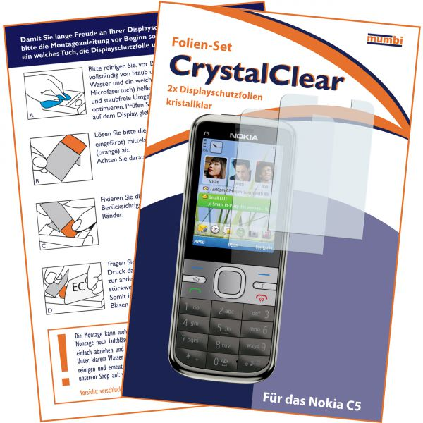Displayschutzfolie 2 Stck. CrystalClear für Nokia C5-00