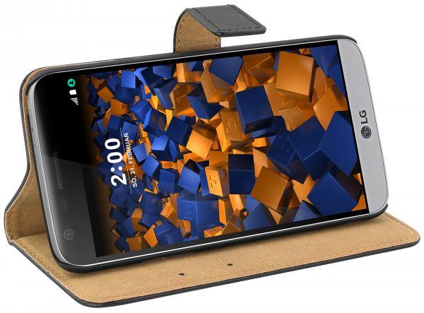 Bookstyle Ledertasche schwarz für LG G5