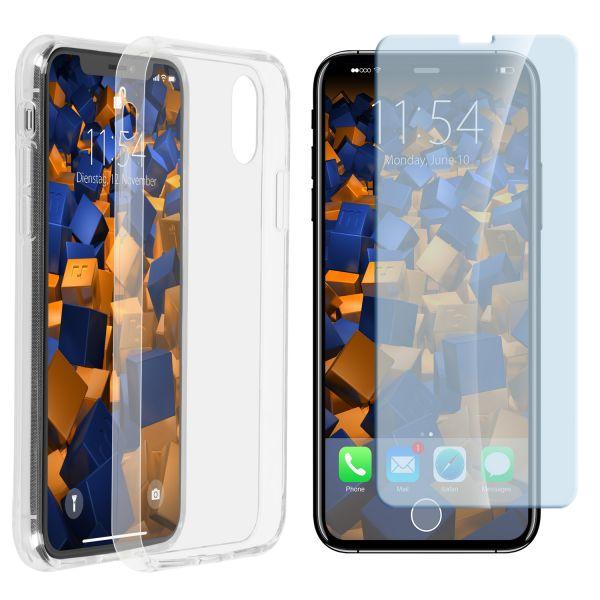 Set aus TPU Hülle Panzerglas und PG-Folie transparent für Apple iPhone XS / X
