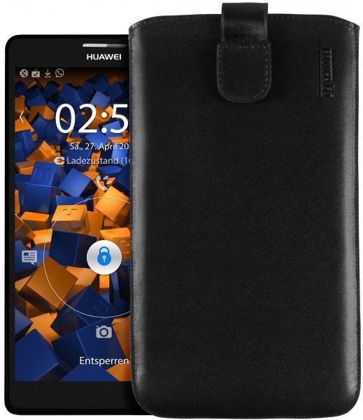 Leder Etui Tasche mit Ausziehlasche schwarz für Huawei Ascend Mate