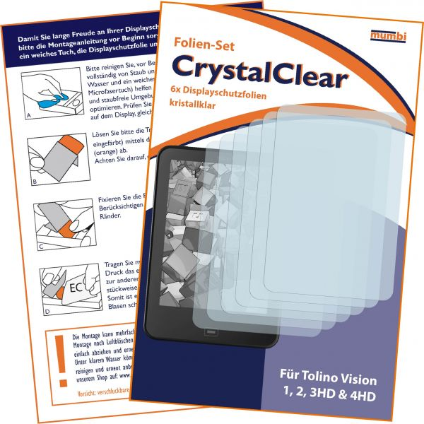 Displayschutzfolie 6 Stck. CrystalClear für Tolino Vision 1, 2, 3HD & 4HD