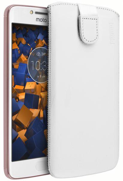 Leder Etui Tasche mit Ausziehlasche weiß für Motorola Moto E4 Plus