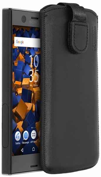 Leder Etui Tasche mit Ausziehlasche schwarz für Sony Xperia XZ1 Compact