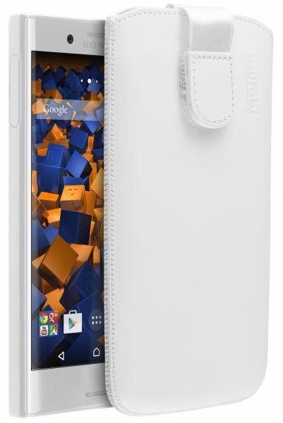 Leder Etui Tasche mit Ausziehlasche weiß für Sony Xperia X Compact