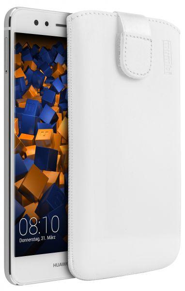 Leder Etui Tasche mit Ausziehlasche weiß für Huawei P10 Lite