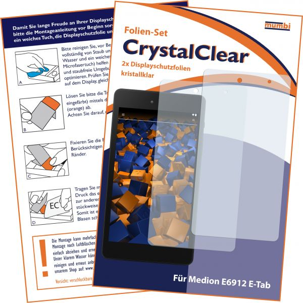 Displayschutzfolie 2 Stck. CrystalClear für Medion E6912 E-Tab
