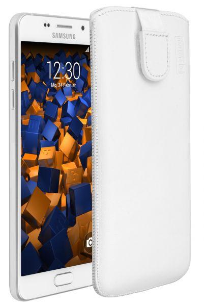 Leder Etui Tasche mit Ausziehlasche weiß für Samsung Galaxy A5 (2016)