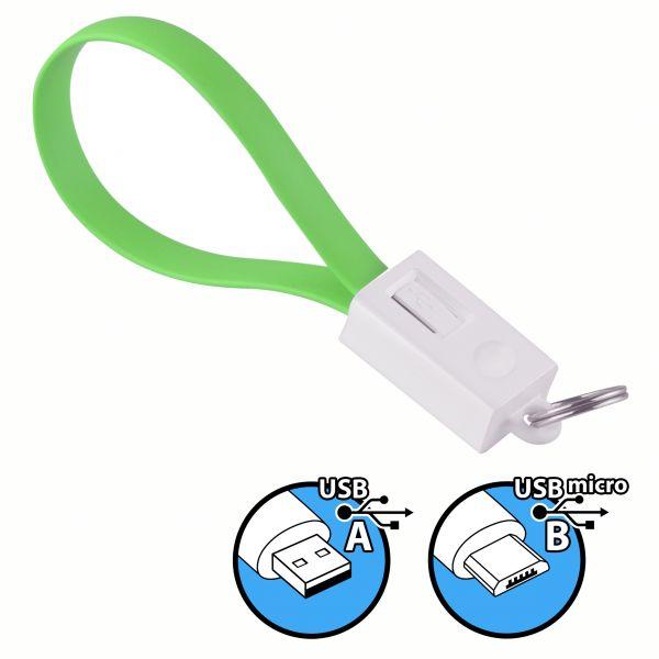 Daten- und Ladekabel USB A auf micro USB B Stecker Schlüsselanhänger in Grün