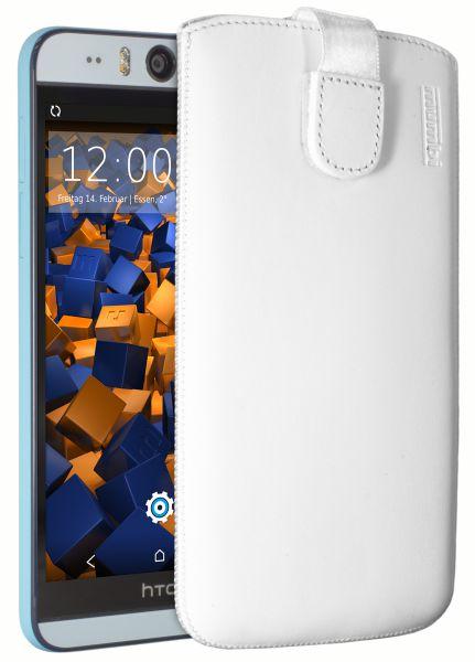 Leder Etui Tasche mit Ausziehlasche weiß für HTC Desire Eye