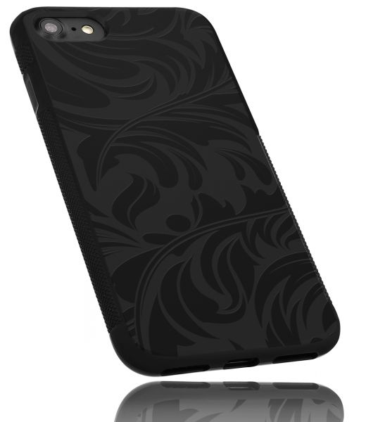 TPU Hülle Grip schwarz Motiv Blatt für Apple iPhone 8 / 7