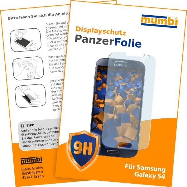 Panzerglasfolie Hartglas 9H für Samsung Galaxy S4