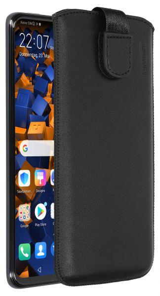 Leder Etui Tasche mit Ausziehlasche schwarz für Huawei P Smart Z