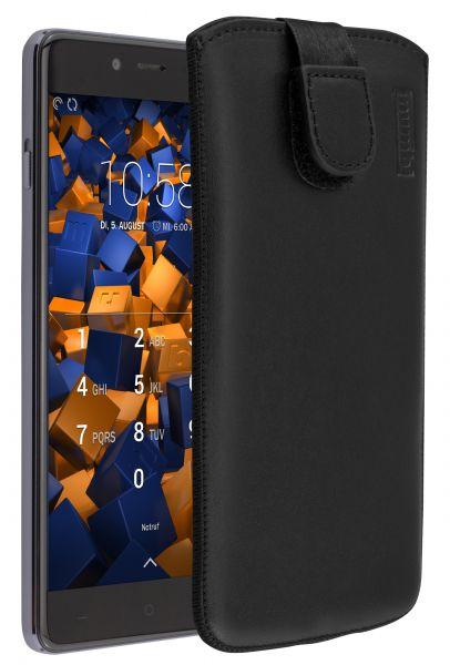 Leder Etui Tasche mit Ausziehlasche schwarz für OnePlus X