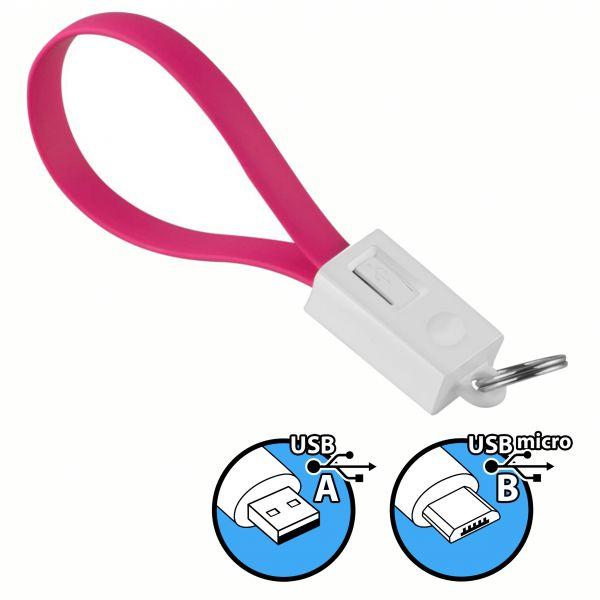 Daten- und Ladekabel USB A auf micro USB B Stecker Schlüsselanhänger in Pink