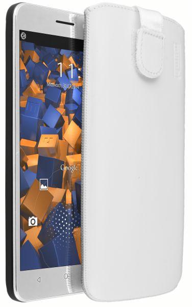 Leder Etui Tasche mit Ausziehlasche weiß für Huawei Honor 4X