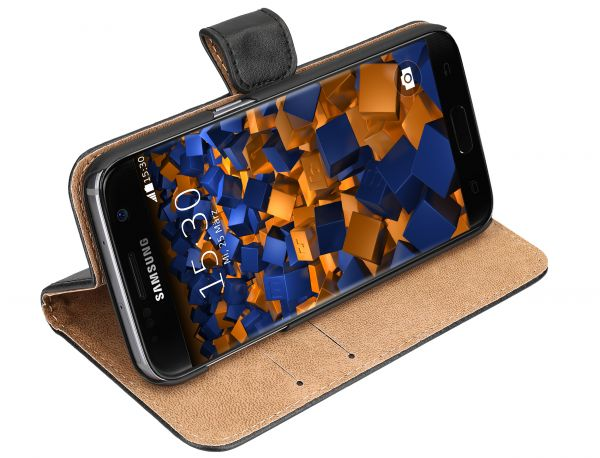 Bookstyle Ledertasche schwarz für Samsung Galaxy S7