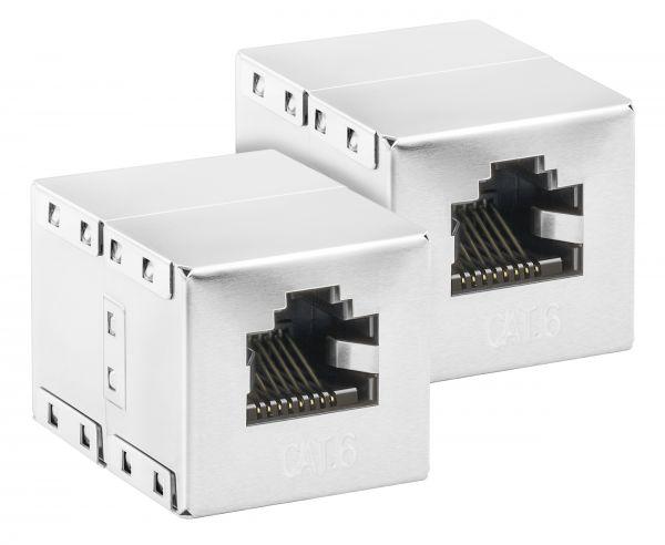 CAT 6 Ethernet Netzwerkkabel Verbinder alu silber (2 Stück)