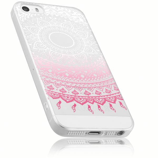 TPU Hülle transparent weiß rosa Motiv Mandala für Apple iPhone SE / 5 / 5s