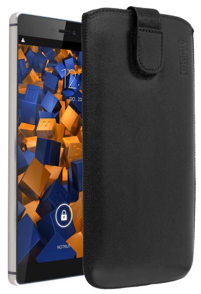 Leder Etui Tasche mit Ausziehlasche schwarz für Huawei P8