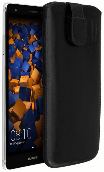 Leder Etui Tasche mit Ausziehlasche schwarz für Huawei Mate S