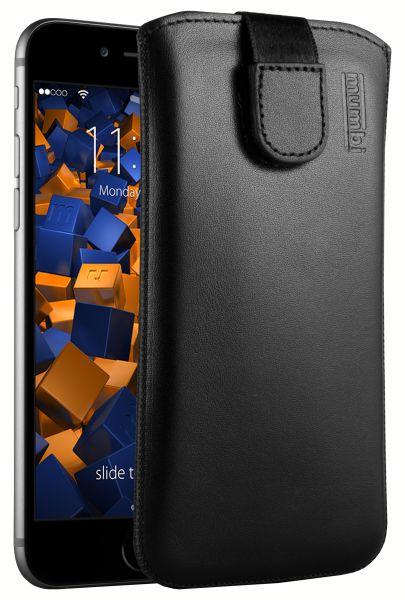 Leder Etui Tasche mit Ausziehlasche schwarz für Apple iPhone 6 / 6s
