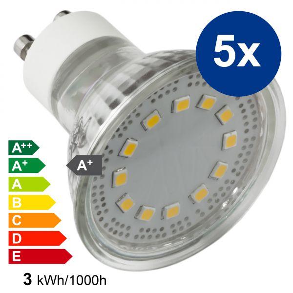 XQLite LED Lampe GU10 MR16 5 Stck. 3W 3000 Kelvin warmweiß 230 Lumen Energieklasse A+