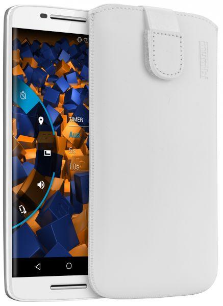 Leder Etui Tasche mit Ausziehlasche weiß für Motorola Moto X Play