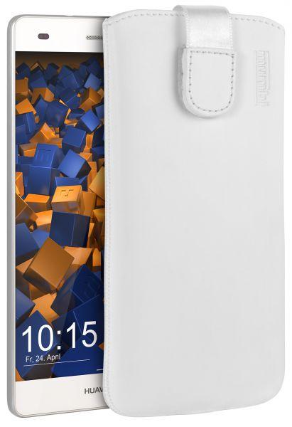 Leder Etui Tasche mit Ausziehlasche weiß für Huawei P8 Lite (2015)