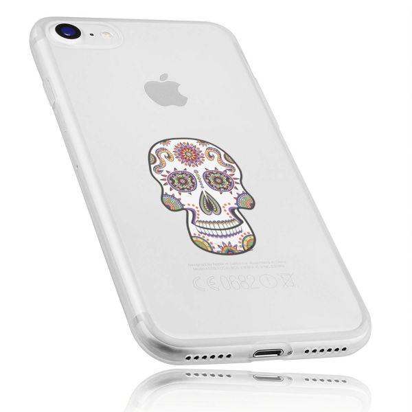 TPU Hülle Ultra Slim transparent Motiv Calavera weiß für Apple iPhone 8 / 7