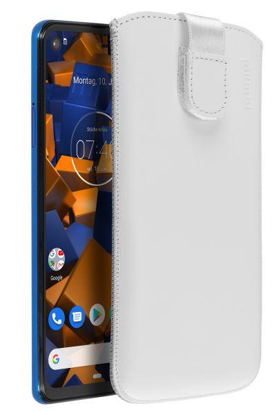 Leder Etui Tasche mit Ausziehlasche Etui weiß für Motorola One Vision u. Action