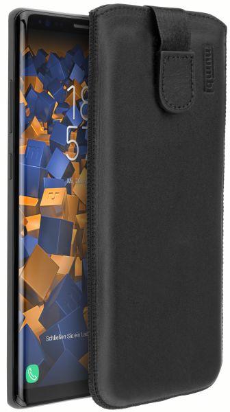 Leder Etui Tasche mit Ausziehlasche schwarz für Samsung Galaxy Note8