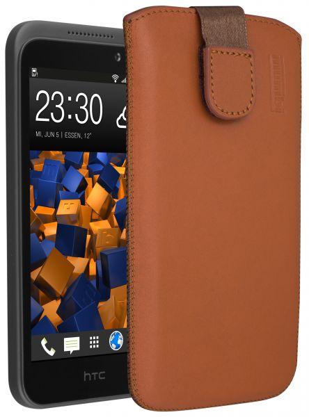 Leder Etui Tasche mit Ausziehlasche cognac für HTC Desire 320