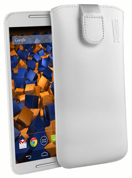 Leder Etui Tasche mit Ausziehlasche weiß für Motorola Moto X 2.Generation