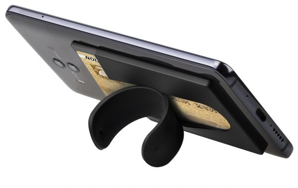 aufklebbarer Kreditkartenhalter mit Aufstellfunktion in Schwarz