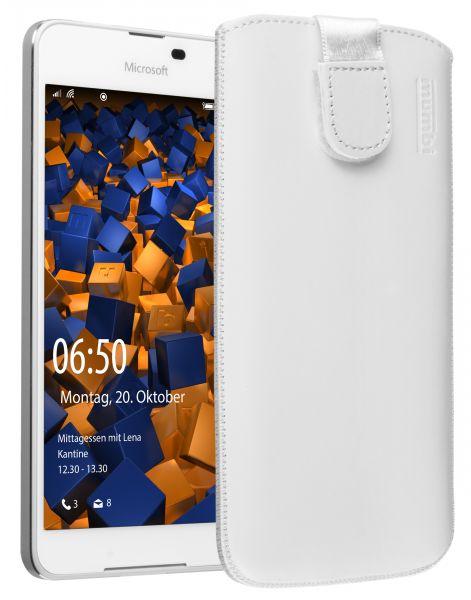 Leder Etui Tasche mit Ausziehlasche weiß für Microsoft Lumia 650
