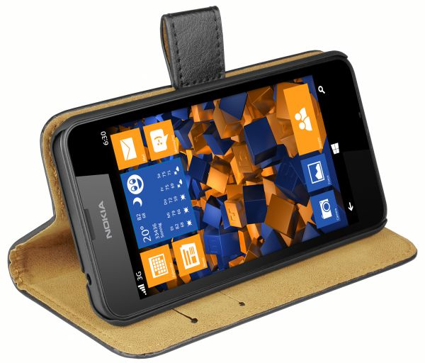 Bookstyle Tasche schwarz für Nokia Lumia 630 / 635