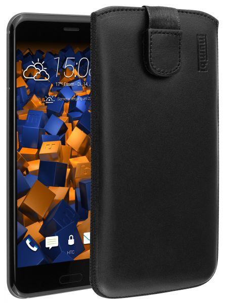 Leder Etui Tasche mit Ausziehlasche schwarz für HTC U11