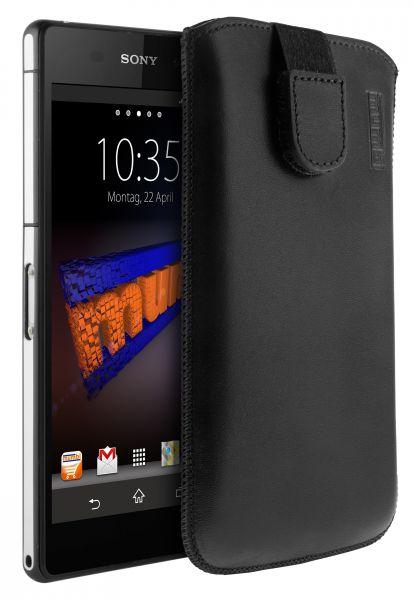Leder Etui Tasche mit Ausziehlasche schwarz für Sony Xperia Z2