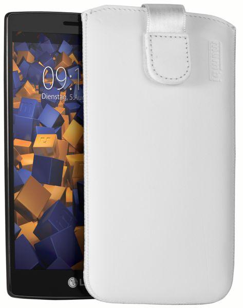 Leder Etui Tasche mit Ausziehlasche weiß für LG G4s