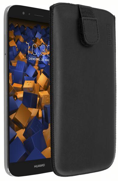 Leder Etui Tasche mit Ausziehlasche schwarz für Huawei G8 / GX8