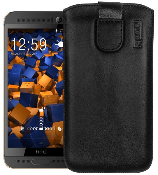 Leder Etui Tasche mit Ausziehlasche schwarz für HTC One M9 Plus