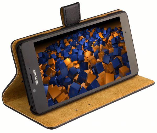 Bookstyle Ledertasche schwarz für Microsoft Lumia 950