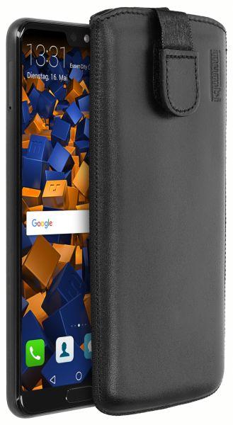 Leder Etui Tasche mit Ausziehlasche schwarz für Huawei P20