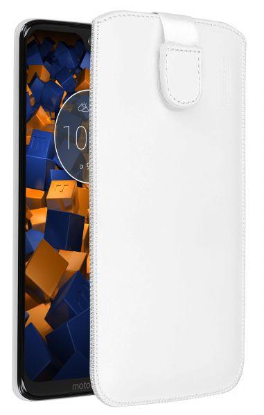 Leder Etui Tasche mit Ausziehlasche weiß für Motorola Moto G7 Plus