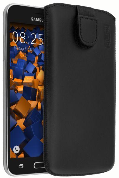 Leder Etui Tasche mit Ausziehlasche schwarz für Samsung Galaxy J3 (2016)