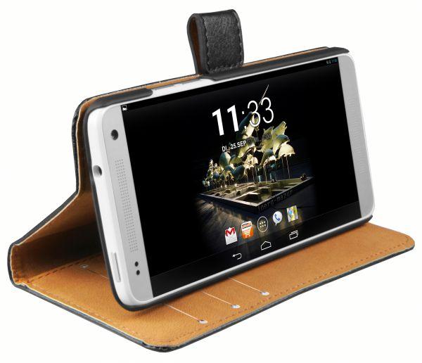 Bookstyle Ledertasche schwarz für HTC One Mini