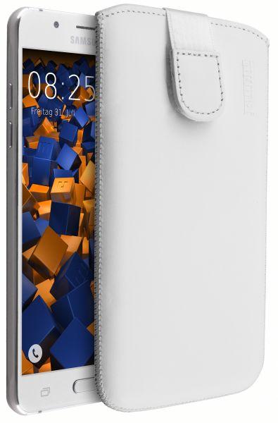 Leder Etui Tasche mit Ausziehlasche weiß für Samsung Galaxy J5 (2016)