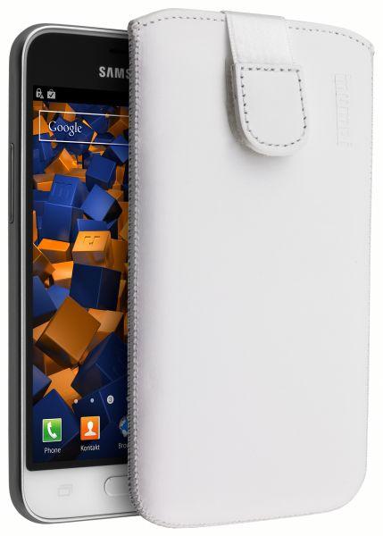 Leder Etui Tasche mit Ausziehlasche weiß für Samsung Galaxy J1 (2016)