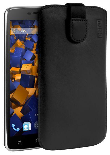 Leder Etui Tasche mit Ausziehlasche schwarz für Archos 52 Platinum
