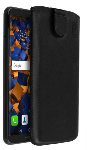 Leder Etui Tasche mit Ausziehlasche schwarz für Huawei Mate 10 Lite